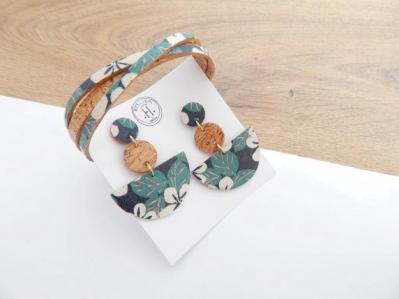 Liège II et tissu Hawaï boucles demi-lune #2 et bracelet croisé 30.50€